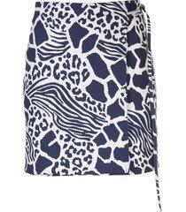 adam lippes all-over print skirt - blue