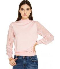 sweater manga brillos rosado nicopoly
