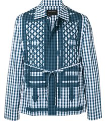 craig green waist-tied gingham jacket - blue