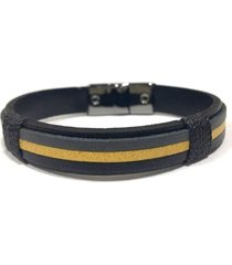pulseira armazem rr bijoux couro masculina cinza amarela e preta