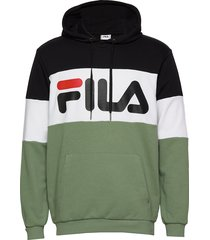 men night blocked hoody hoodie trui groen fila