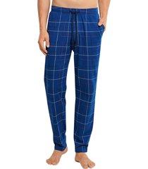 schiesser pyjamabroek jersey ruitje blauw