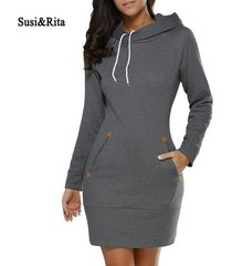 autumn hooded dress women pocket long sleeve mini hoodie dress plus size casual