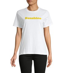 french connection women's flocked sunshine cotton t-shirt - white yellow - size xs