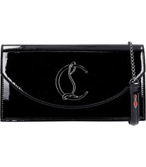 christian louboutin louni54 clutch in black patent leather