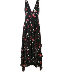 eva polka dot print midi dress - black