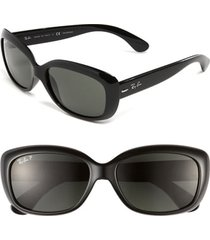 ray-ban 'jackie ohh' polarized 58mm sunglasses in black/grey polarized at nordstrom