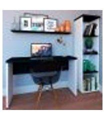 conjunto de mesa com estante e prateleira de escritório corp branco e preto