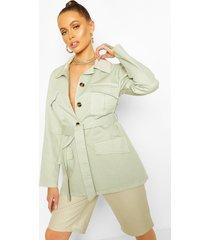 utility pocket tie waist woven jacket, sage