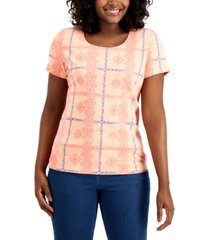 karen scott lace plaid top, created for macy's