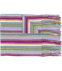 m missoni tassel-edge striped scarf - purple