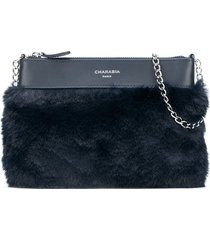 charabia faux-fur panelled shoulder bag - blue