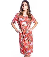 vestido carbella básico viscolycra fine floral vermelho