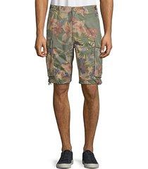 floral-print cotton cargo shorts