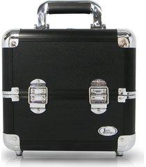 maleta de maquiagem alumínio pequena jacki design beauty preta