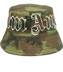 palm angels logo-print camouflage bucket hat - green