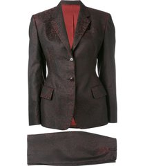 jean paul gaultier pre-owned jacquard skirt suit - red