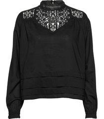feminine drapey top with special lace detailing blus långärmad svart scotch & soda