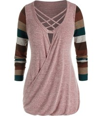 plus size striped lattice blouson knit tunic tee