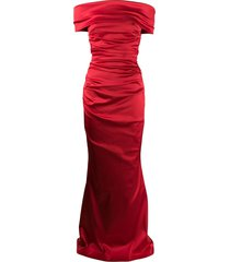 talbot runhof rosso bandeau dress - red