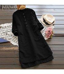 zanzea superior largo de la blusa sólido camisa de vestir de mujer de manga larga bolsillos botones vestido -negro