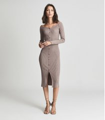 reiss camille - knitted button through midi dress in stone, womens, size xl