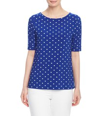 anne klein beekman dot top, size x-large in magritte blue/nyc white at nordstrom