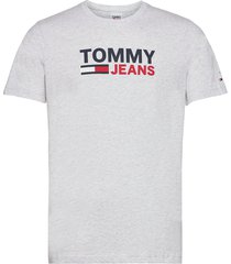 tjm corp logo tee t-shirts short-sleeved silver tommy jeans