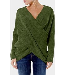 green cross front v-neck irregular hem jumper