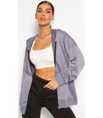 basic oversized zip through hoodie, petrol