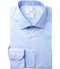 camicia da uomo su misura, canclini, icon azzurra popeline, quattro stagioni | lanieri
