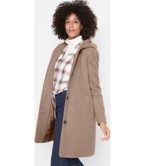korte coat in wollen look met capuchon