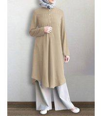 abito camicetta casual plissettato manica lunga con bottoni tinta unita per donna