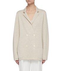 double breast merino wool silk blend blazer