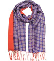 forzieri designer men's scarves, bluette/red printed silk and red wool & cashmere men's scarf