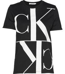 mirrored monogram straight tee t-shirts & tops short-sleeved svart calvin klein jeans