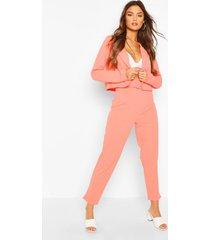 crop blazer & self fabric belt trouser suit set, coral
