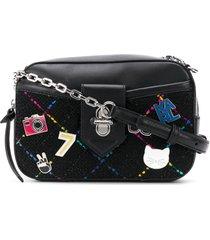 karl lagerfeld k/studio tweed crossbody bag - black