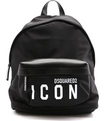 dsquared2 black backpack in technical fabric and leather with logo