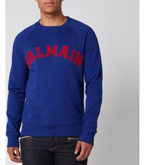balmain men's college sweatshirt - navy/red - xl