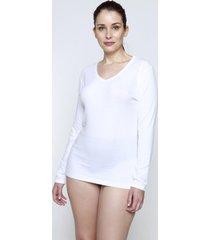 camiseta manga larga algodón blanco kayser