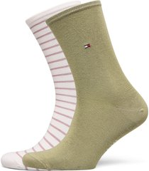 th women small stripe 2p lingerie hosiery socks grön tommy hilfiger