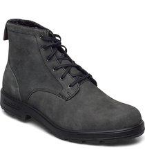 bl lace up leather boot snörade stövlar svart blundst
