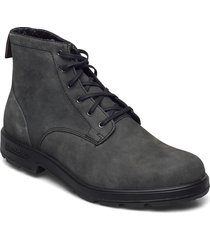 bl lace up leather boot snörade stövlar svart blundst