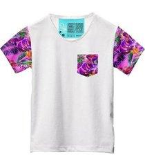 camiseta masculina algodão bolso estampa flor conforto leve - masculino