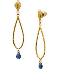 22k yellow gold & blue sapphire drop earrings