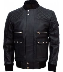 new handmade men leather jacket work wear black bomber leather jacket- lavoro