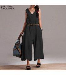 zanzea mujeres sin mangas casual baggy jumpsuit playsuit pantalones anchos para mujer -negro