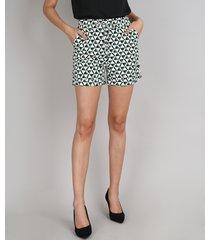 short feminino midi estampado geométrico com cordão barra dobrada off white