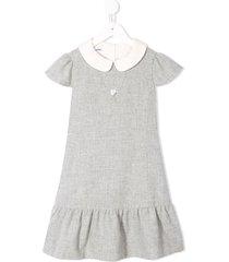 familiar peter pan collar dress - grey